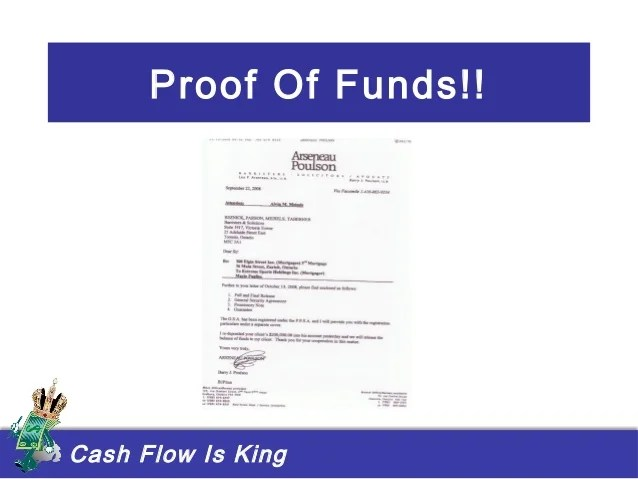 proof of funds letters