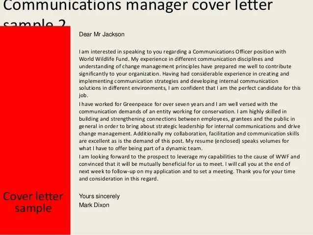 Sample Cover Letter Yukon Communications Manager Cover Letter