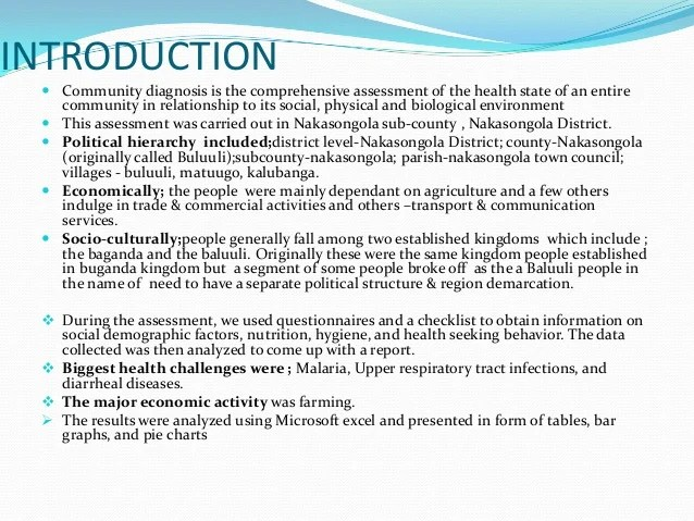 Kitchen Hierarchy Community Diagnosis Of Nakasongola District Summary