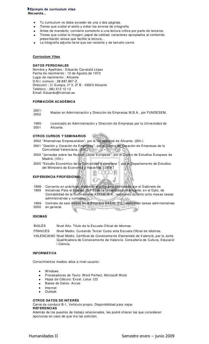 Ejemplos De Curriculum Vitae Peru Word | Resume Pdf Download