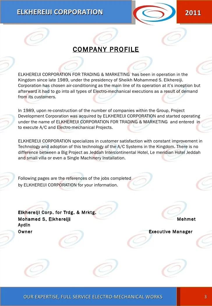 Free Company Profile Template Rfp Templates El Khereiji Corporation For Trading And Marketing Company