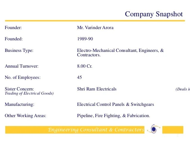 Company Profile Sample Slideshare Company Profile Electrical Contractors