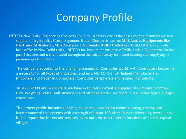 Company Profile Powerpoint Youtube Netco New Dairy Eng And Trading Co Pvt Ltd