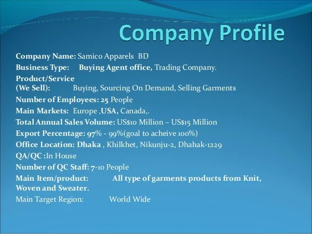 Example Domain Company Profile Of Samico Apparels Bd