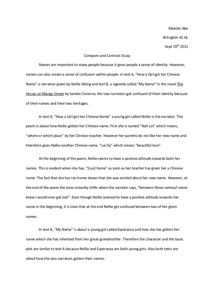 Compare and constrast essay example