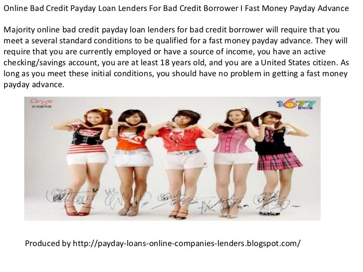Compare top best online payday loans for bad credit borrower