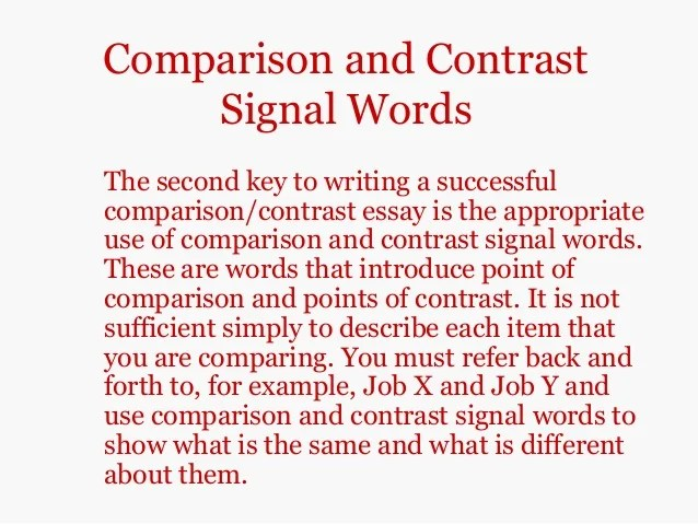 compare and contrast essay point by
