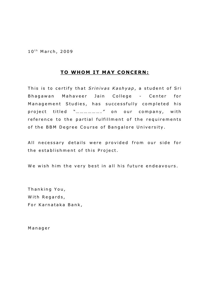 Work Completion Letter Format – Course Completion Certificate Format