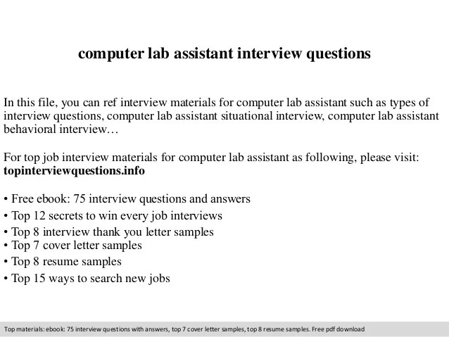 computer lab assistant resumes - Funfpandroid