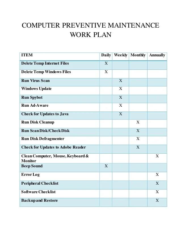 Computer Maintenance Checklist Template – Sample Weekly Checklist Template