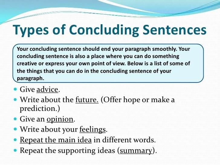 Concluding Sentences Ppt