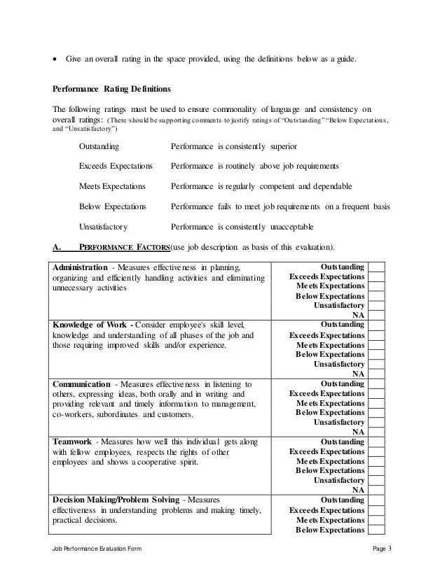 confidential employee performance evaluation form - Deanroutechoice