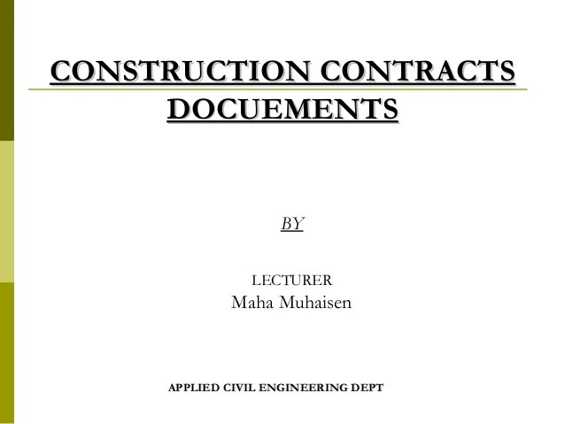 Construction Contract Agreement Types – Types of Construction Contract