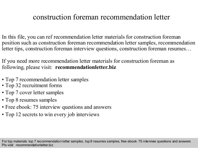 letter of recommendation for construction worker