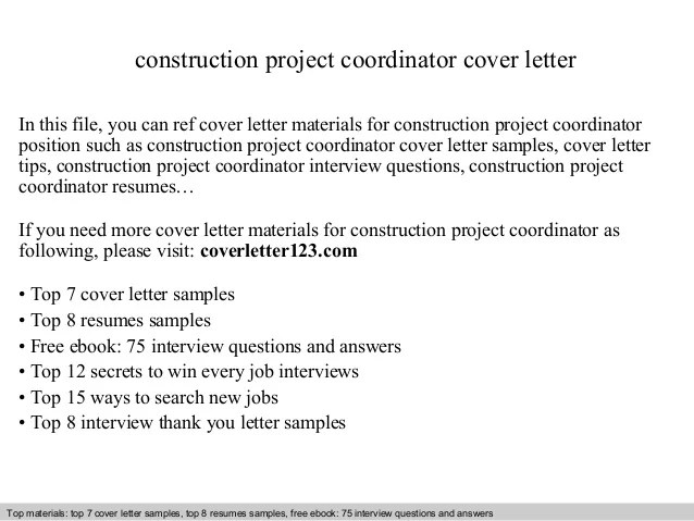 cover letter for construction project coordinator - Funfpandroid