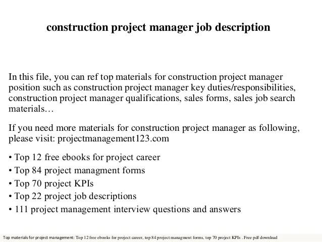 project management job duties - Romeolandinez - construction management job description
