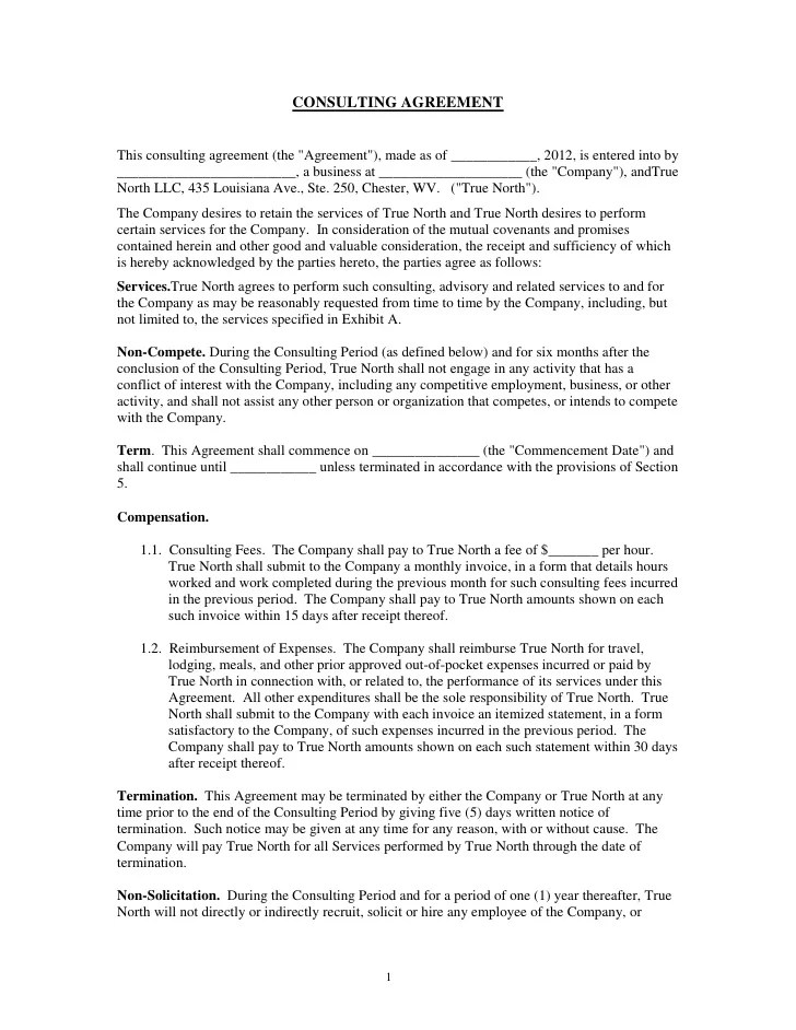 consulting agreement form - Brucebrianwilliams - consulting agreement form