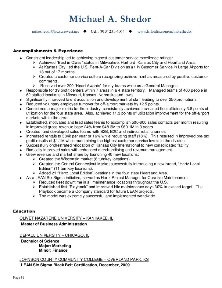 Management Cv Example Free Management Cvs Cv Writing Service Continuous Improvement And Operations Leader Resume Of Mike