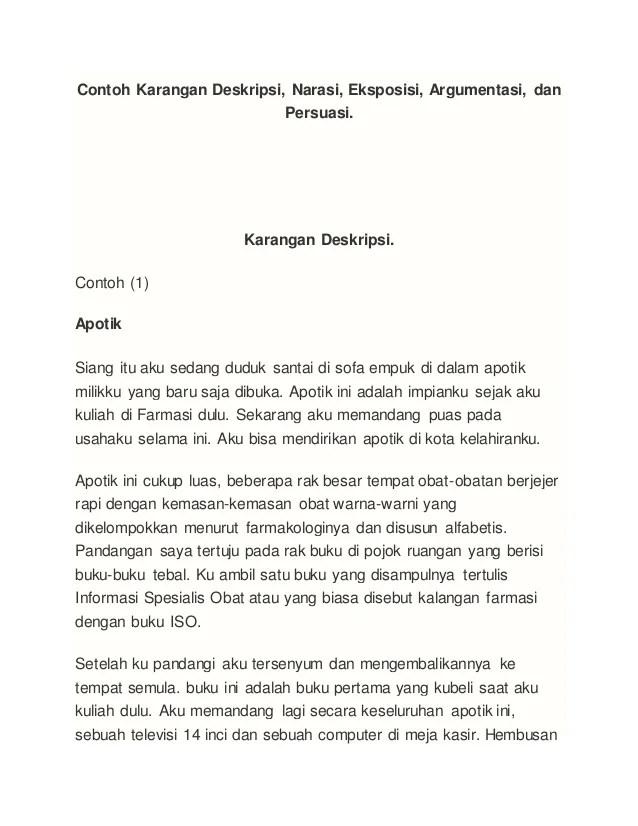 Contoh Contoh Media Pembelajaran Bahasa Dan Sastra Indonesia Langkah Pembelajaran Contoh Karangan Deskripsi Narasi Eksposisi Argumentasi Danpersuasi