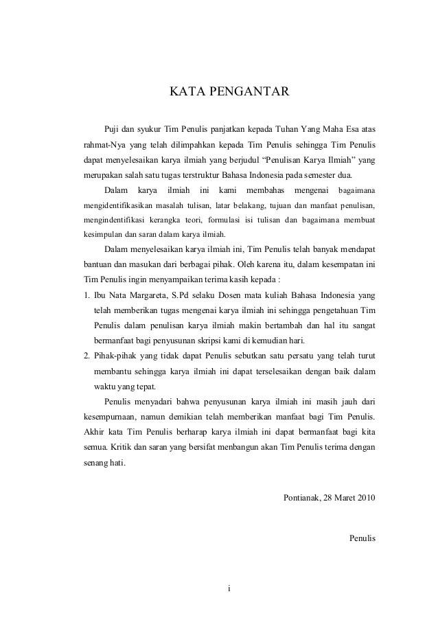Contoh Karya Tulis Ilmiah Bahasa Indonesia Contoh Judul Karya Tulis Ilmiah Dalam Bentuk Makalah Kata Pengantarpuji Dan Syukur Tim Penulis Panjatkan Kepada Tuhan Yang