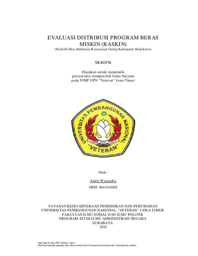 Contoh Skripsi Program Raskin Kumpulan Judul Contoh Skripsi Administrasi Negara Evaluasi Distribusi Program Berasmiskin Raskinstudi Di Desa