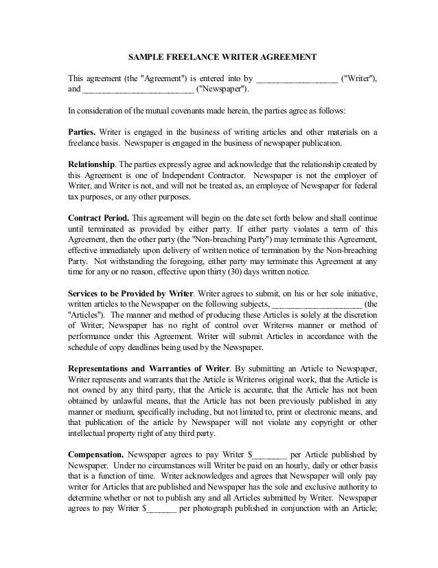 Freelance Writing Contract Template - Eliolera - sample freelance contract template