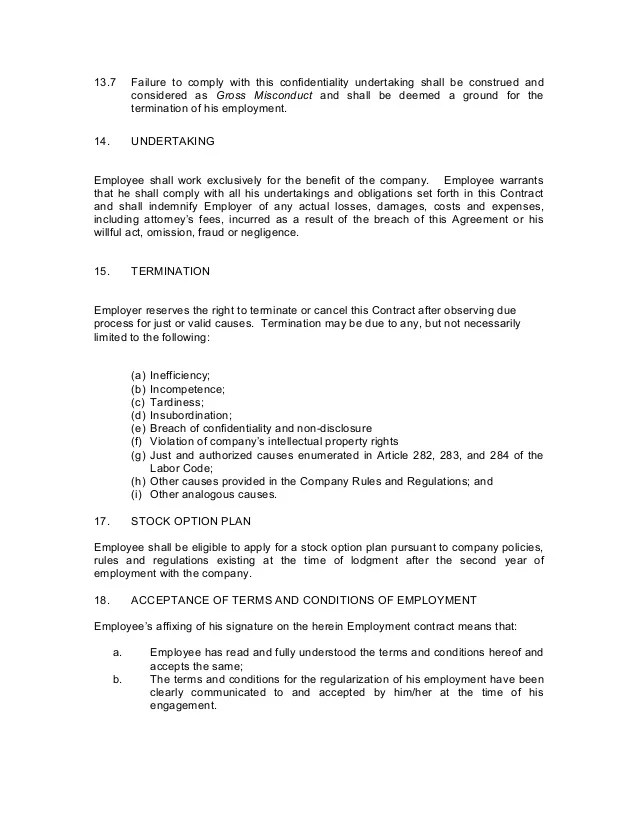 Example A Letter Of Request For Employment Contract To A Contract Of Employment Probationary Employee
