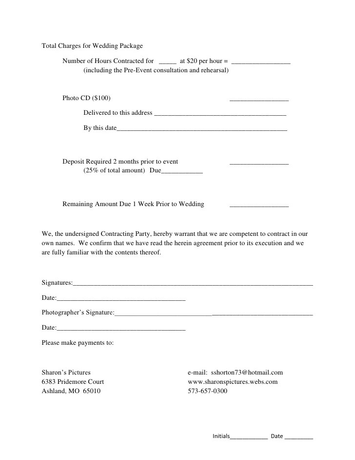 photography event contract template - Apmayssconstruction