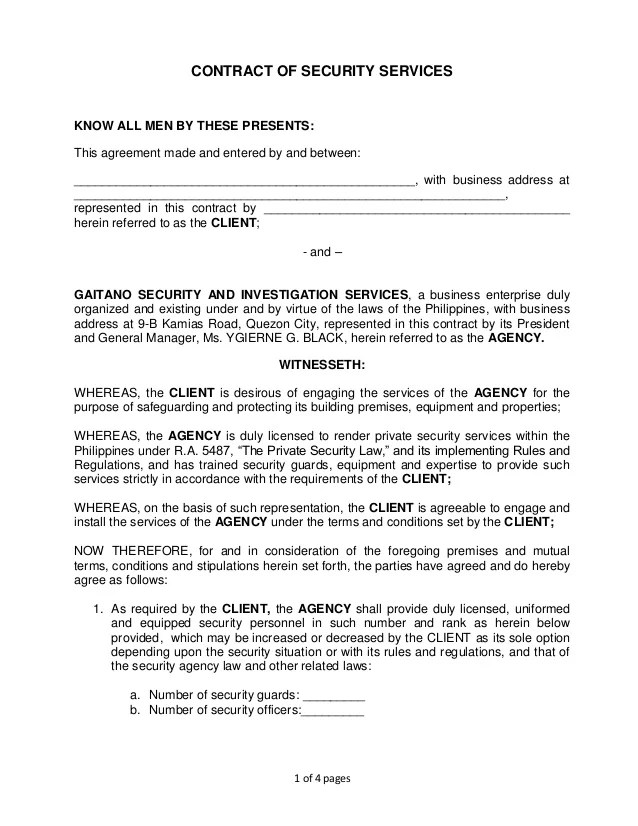 security agency agreement - Ozilalmanoof - security agreement template