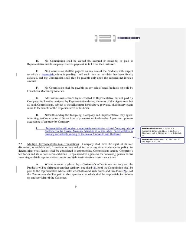 salesman commission agreement - Selol-ink
