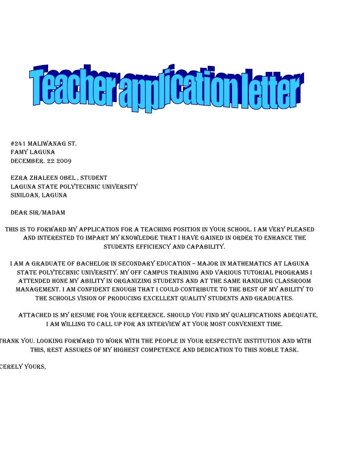 Application For School Teacher Job Free Samples Copy Of Application Letter