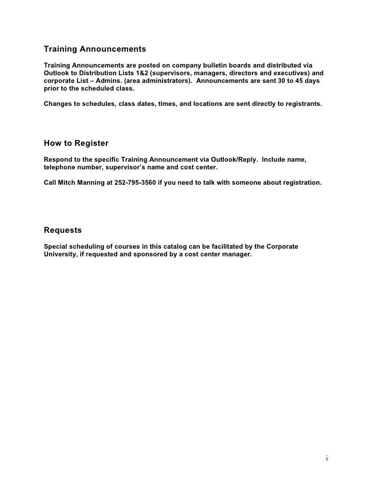 training announcement template - Canasbergdorfbib