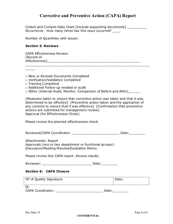 corrective action form example - Apmayssconstruction
