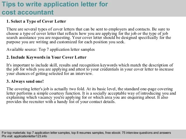 cost accountant cover letters