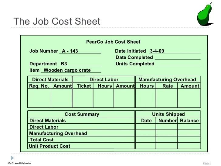 job cost sheet template - Ozilalmanoof - job sheet example
