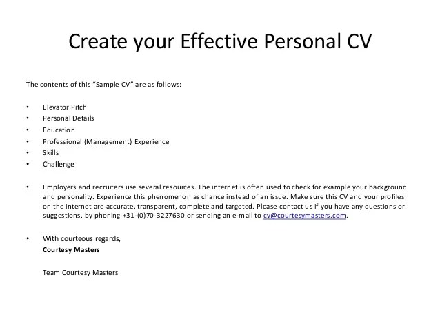 Curriculum Vitae Cv Template Make Money Personal Courtesy Masters Cv Example Create Your Effective Personal Cv