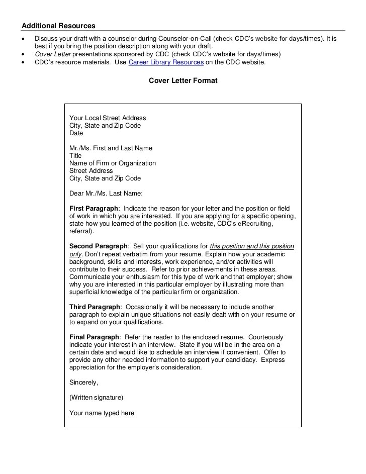 cdc cover letter - Towerssconstruction