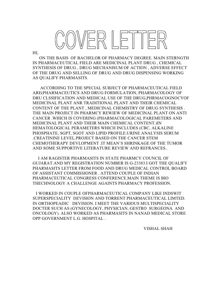 cover letter pharmaceutical