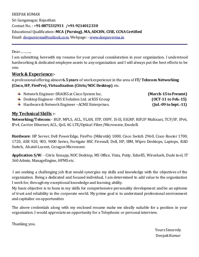 noc engineer cv sample