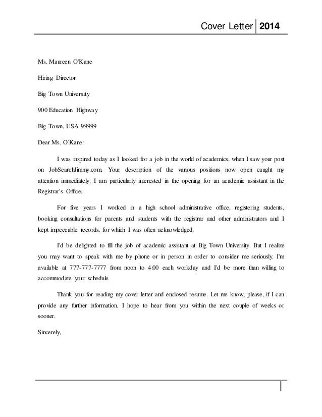 registrar cover letter