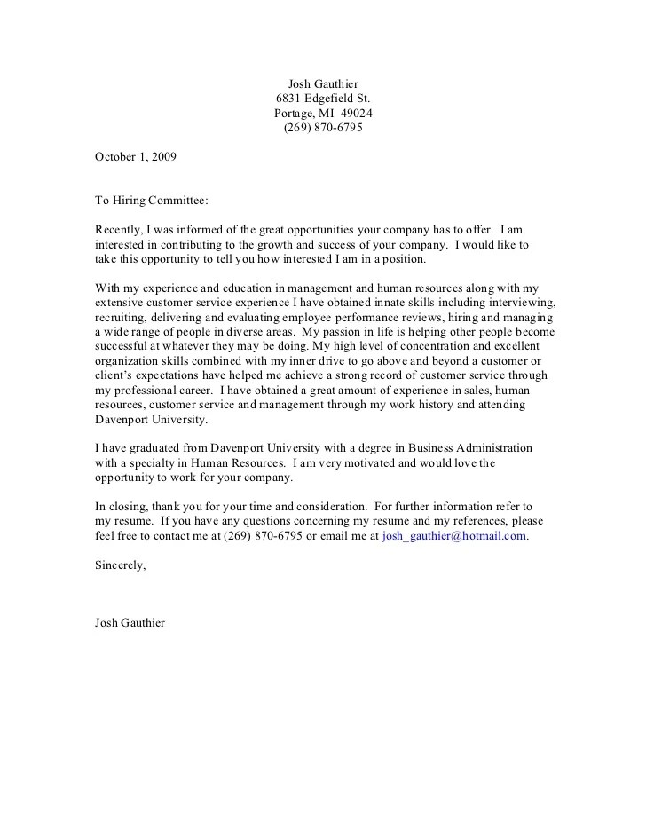 Cover Letter Sample Business Administration