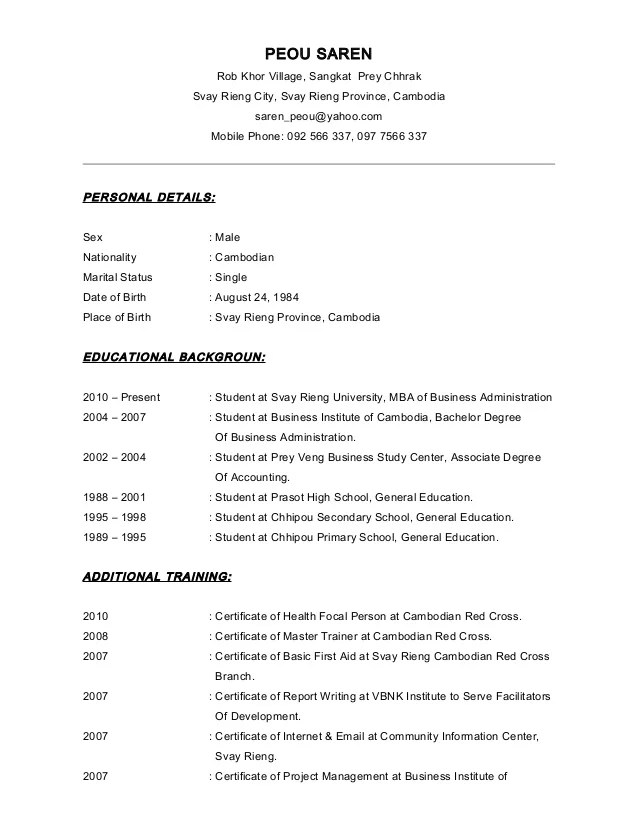 Sample Resume For High School Students Cover Letter And Cv Peou Saren