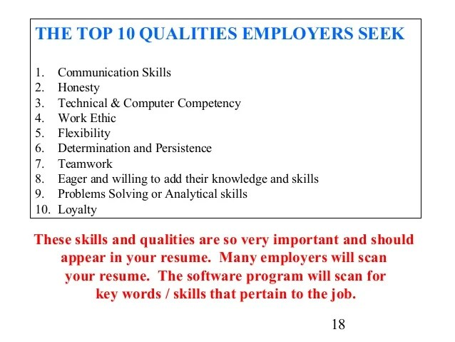 skills and qualities for resume - Funfpandroid - working skills for resume