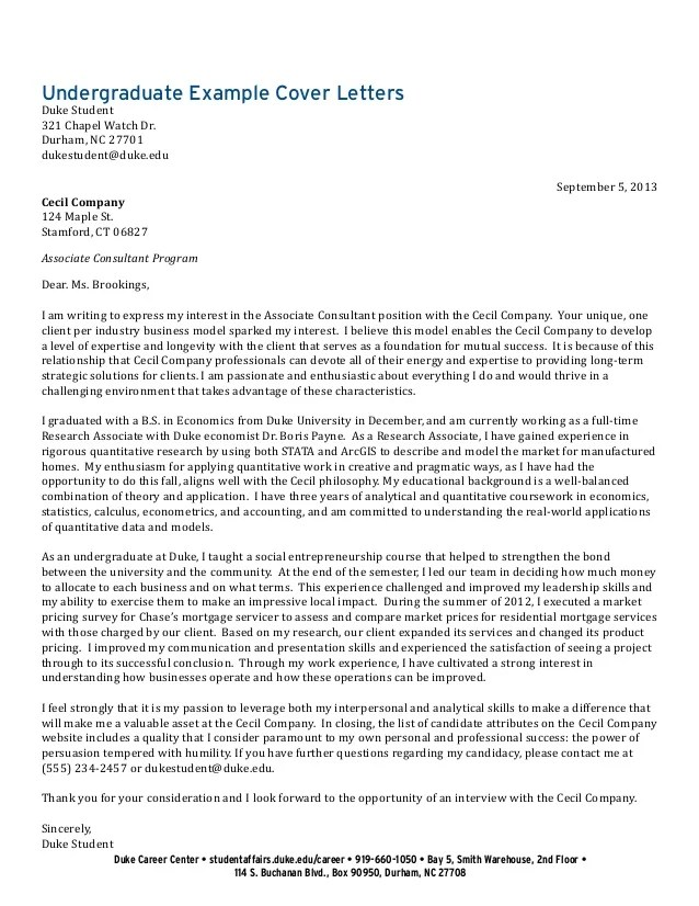Research Assistant Cover Letter Jobhero Undergraduate Student Cover Letter Collection