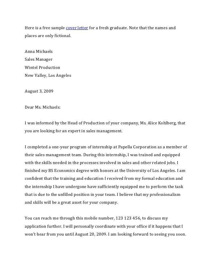 Fresh Graduate Cover Letter Job Application