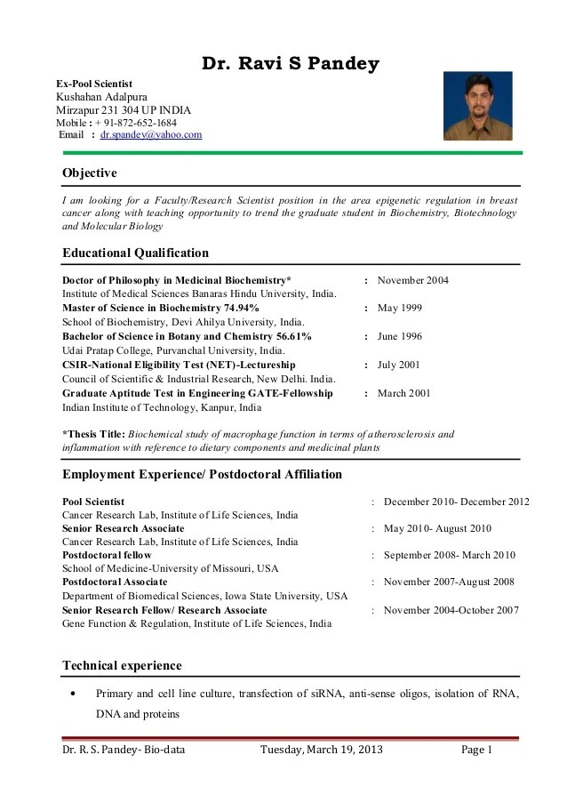 Medical Curriculum Vitae Example The Balance Dr Ravi S Pandey Resume For Assistant Professor Research