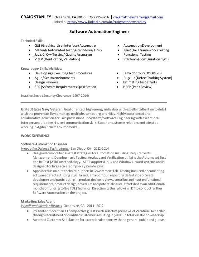 automation engineer cv