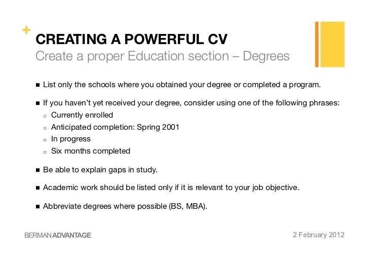 mba resume education section