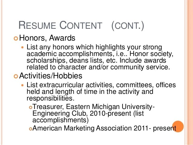 resume how to list hobbies