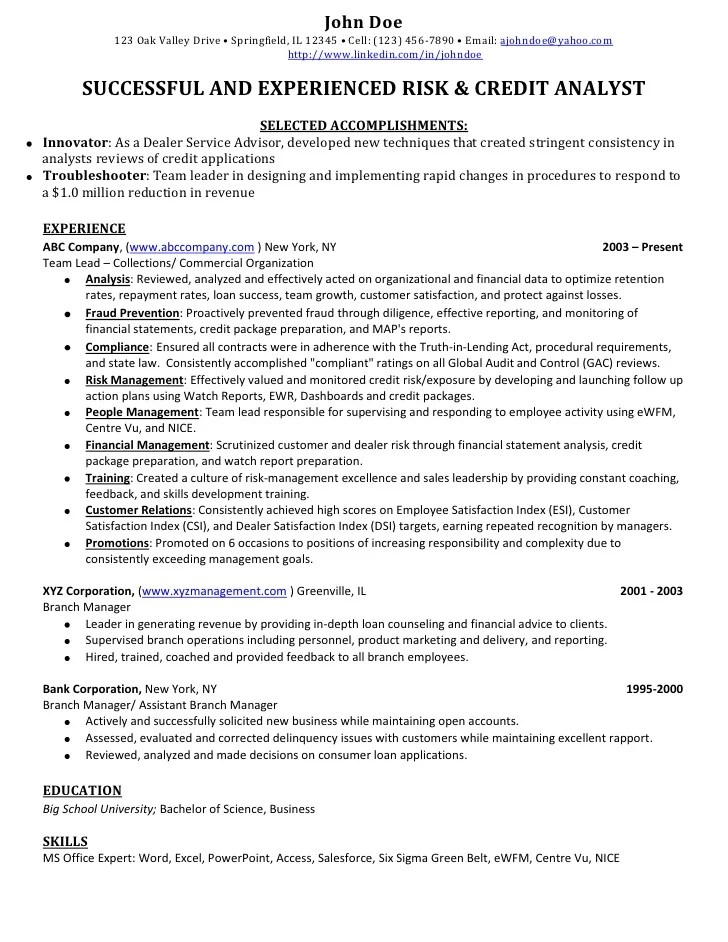 sample credit analyst resume - Jolivibramusic